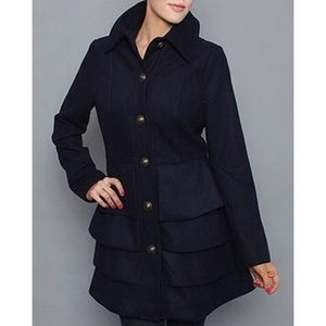 B.B. Dakota Navy dress coat with ruffles